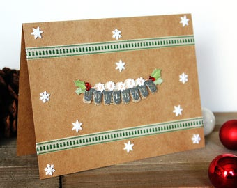 Handmade Christmas Card, Happy Holidays, Rustic, Green White Red, Brown Craft Paper, Unique, One of a Kind, Blank Inside, Free US Shipping