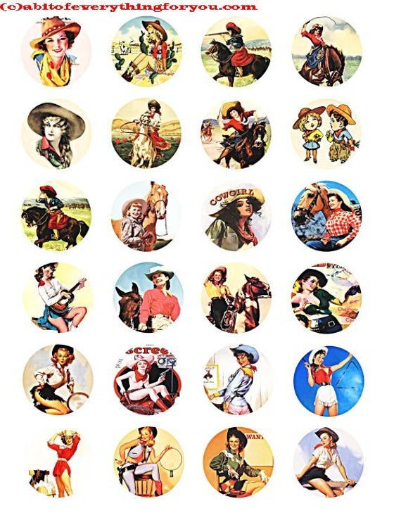 vintage cowgirls art collage sheet 1.5 inch circle clip art digital download graphics images old photos pinups ranch rodeo country western