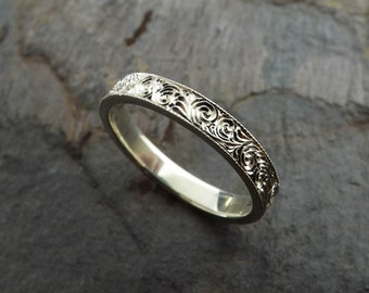 Custom Hand Engraved Sterling Silver Ring