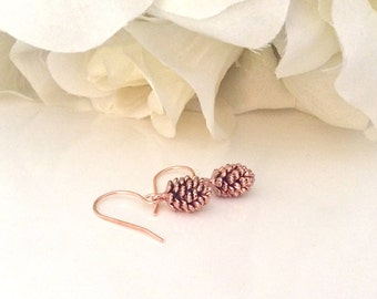 Rose Gold Earrings, pine cone earrings, Tiny Jewelry, dainty gold earrings, gifts for her, best friend gifts, minimalist, best selling item
