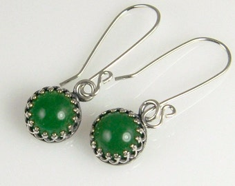 Green Aventurine and Silver Earrings in Crown Bezel, Gemstone Earrings in Silver Gallery Wire Bezels  GS18