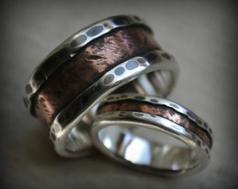 rustic wedding ring set - fine silver and copper - handcrafted and oxidized fine silver and copper wedding bands - customized