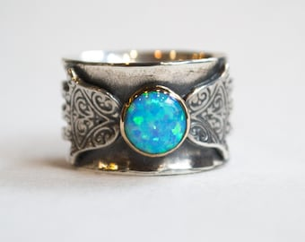 Twotone ring, statement ring, boho ring, tribal Hamsa silver ring, silver gold ring, hand of fatima ring, opal ring - Feel the magic R2269