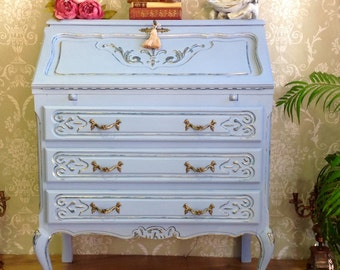 Just sold ~~~ Shabby Chic Annie Sloan Chalk Painted French Vintage Bureau Writing Desk In Louie Blue & Aubusson