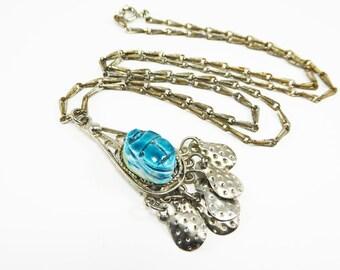 Egyptian Revival Scarab Pendant & Silver Tone Chain Necklace Blue Scarab Beetle Dangling Metal Teardrops Vintage 1960s 1970s BOHO Jewelry