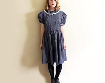 vintage dress navy blue floral print lace collar womens clothing handmade size medium m