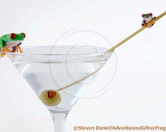 Martini Art - Frogs on Martini Glass - LIVE Frogs - Hoppy Hour - Art for the Bar