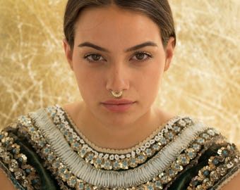 Septum Ring, Gold Septum, Gold Septum Ring, Nose Piercing, Septum Jewelry, Tribal Septum, Indian Septum, 20g - 13g , Solid Gold Septum Ring