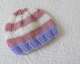 Newborn Lavender - Pink - Soft White  Stripe Beanie