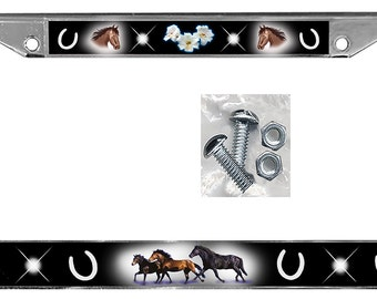 Horse License Plate Frame Flowers Gifts Girls Ladies Plate Holder Horses Many Color Backgrounds Plate Holder Equine 2 Mounting Screws & Nuts