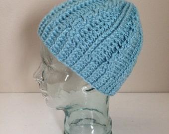 Crochet cable hat, women's crochet cable hat, cable hat, women's cable hat, winter hat, crochet hat, women's blue hat