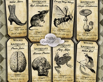 Vintage Halloween Apothecary Labels Digital Halloween Images for Scrapbooking, Card Making, Gift Tags. Digital Collage Sheet
