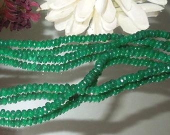 Emerald Green Jade Facet Rondell Donut 2x4mm Destash- Bastet's Beads-