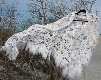 Crochet shawl white bridal shawl hand knit shawl wedding crochet wrap stole bridesmaid gift