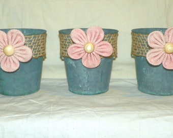 """Metal Flower and Burlap Flower Pots a SET of 3 GREEN Metal Buckets with Pink Burlap Flowers, 4 1/2"""" High Just add Potted Flowers"""