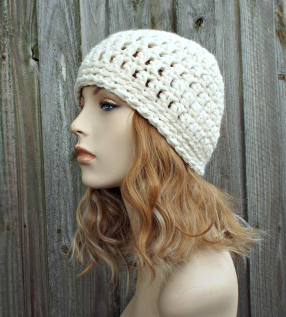 Cream Beanie Cream Hat - Crochet Womens Hat Mens Hat - Warm Winter Hat - READY TO SHIP