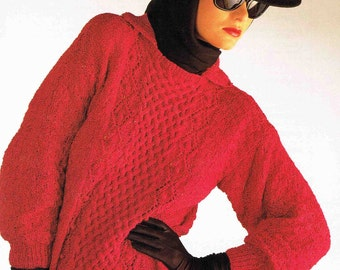 Lady's Round Neck Pullover Sweater Jumper with Collar - Size 76 to 102 cm (30 to 40 inches) - Sirdar DK7034 - Vintage Knitting Pattern