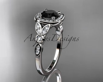 platinum diamond leaf and vine wedding ring, engagement ring with a Black Diamond center stone ADLR179