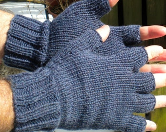 Half Finger Gloves Men's Blue Half Finger Gloves Hand Knit Denim Blue Washable Merino Wool Hand Warmers Men's Half Finger Blue Merino Gloves