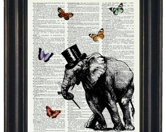 Dancing Elephant Dictionary Art Print with HHP Signature Butterflies Wall Decor Dictionary Print