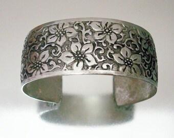 Silver Tone Flower Embossed Bracelet Wide Cuff Vintage