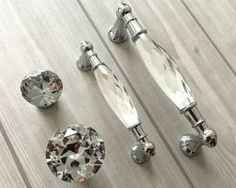 Crystal Drawer Pull Knob Glass Dresser Handles Pulls Chrome Clear Silver Modern