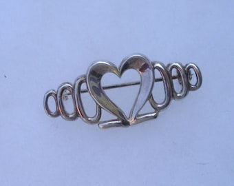 Pretty Sterling Silver 925 Ornate Heart Pin Brooch