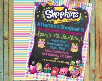 Shopkins Inspired Personalized Birthday Invitations (Printed)