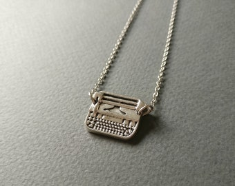 Typewriter. Dainty charm necklace.