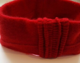 Red Cashmere Headband, Cashmere Ear Warmers, Upcycled Head Band, cashmere hat