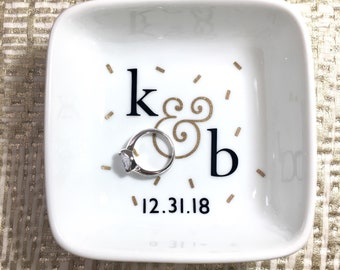 add to your bride box! ring dish with couples initials and wedding date! great for an engagement gift for bride and groom