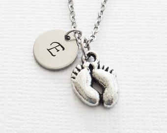 Footprints Necklace, Baby Feet, Birth, New Baby Jewelry, Mother Gift, Mom, Mother-To-Be, Personalized, Monogram, Hand Stamped Letter Initial
