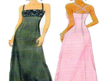 Designer, Evening, Gown, Butterick 6048, NICOLE MILLER, Empire Waist, Jewelled Bodice, Aline Skirt, Slip Dress, Plus Size 18-20-22, UNCUT