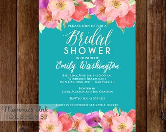 Bridal Shower Invitation, Watercolor Flower Invitation, Floral Invitation, Watercolor Floral Invitation, Baby Shower Invite, Teal Invitation