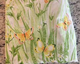 Vintage butterfly floral queen flat sheet//Vintage butterfly fabric