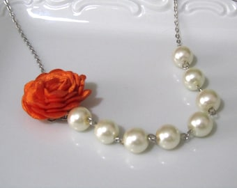 Wedding jewelry, wedding jewelry for brides, ivory pearl necklace, pearl bridal, jewelry for bridemaids,orange fabric, orange flowers