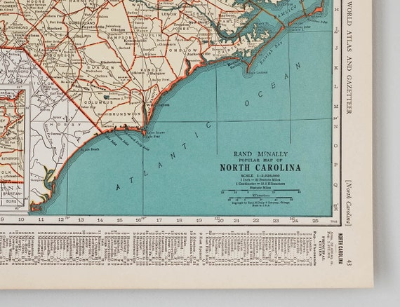 Vintage maps of north carolina and north dakota 1930s like this item gumiabroncs Image collections