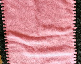 Black and Pink Ruffle Burp Cloth
