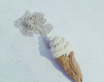 Soft Serve Ice Cream Cone Necklace- Polymer Clay Jewelry