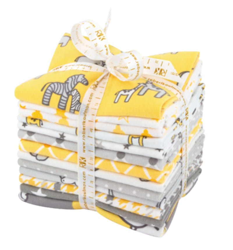 Flannel Quilting fabric, Fat Quarter Bundle of Little Safari Flannel ...