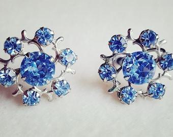 Sparkling Light Blue Sapphire Rhinestone Earrings