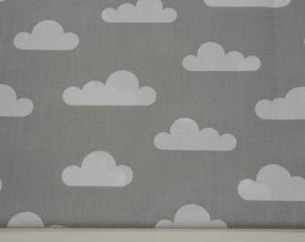 Fabric 100% cotton half a metre (50 x 160 cm), 100% grey cotton and fabric clouds, cloud by the yard, the