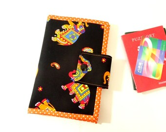 elephant passport cover, passport holder, travel wallet, card holder, travel gift, black wallet, personalized wallet