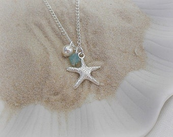 Starfish Necklace-girls necklace-Beach Themed Jewelry-Wedding Flower Girl Gift-nautical-personalized