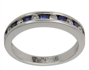Anniversary Ring Channel Set With Diamonds And Sapphires 14K White Gold