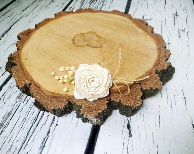 Ivory rose wedding BOUTONNIERE, sola Flowers, dried flax, baby breath, jute cord, burlap, twine, natural, woodland, harvest wedding, groom