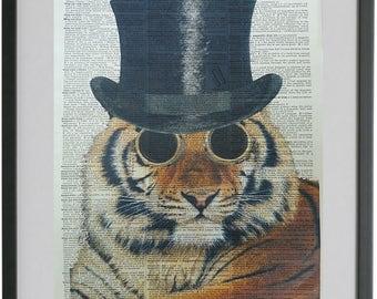 Tiger Print No.38, tiger art, tiger decal, tiger decor, wild animal, indian tiger, steam punk, stripes, animal gifts, dictionary art