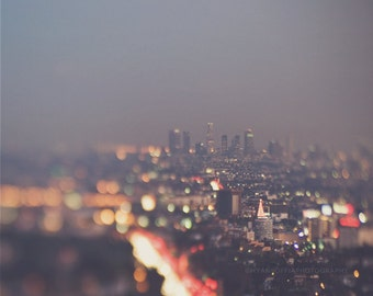 LA at night photograph, Los Angeles skyline print, cityscape, bokeh, abstract decor, modern, purple gold, California travel, Hollywood