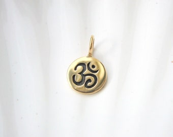 Gold Om Charm - Jewelers Bronze - Add On - Yoga Inspired - Ohm Aum