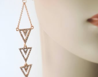 Rose Gold Earrings - Triangle Earrings - Crystal Earrings - Chain Earrings - Long Earrings - handmade jewelry